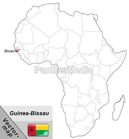 karte von guinea bissau mit hauptstaedten