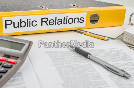 file folders labeled public relations