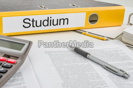 file folder with the lettering studium