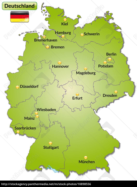 karte von deutschland mit hauptstädten Karte von Deutschland mit Hauptstädten in Grün   Lizenzfreies Foto