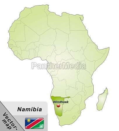 karte von namibia mit hauptstaedten in