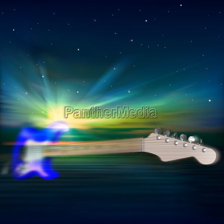 abstract music background with electric guitar