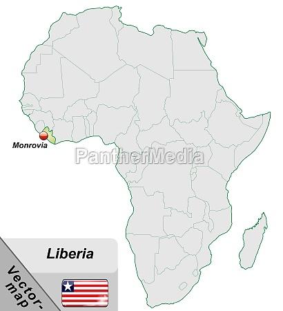 karte von liberia mit hauptstaedten in