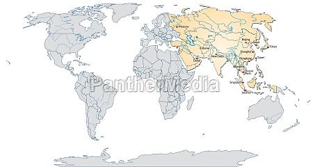 karte von asien mit hauptstaedten in
