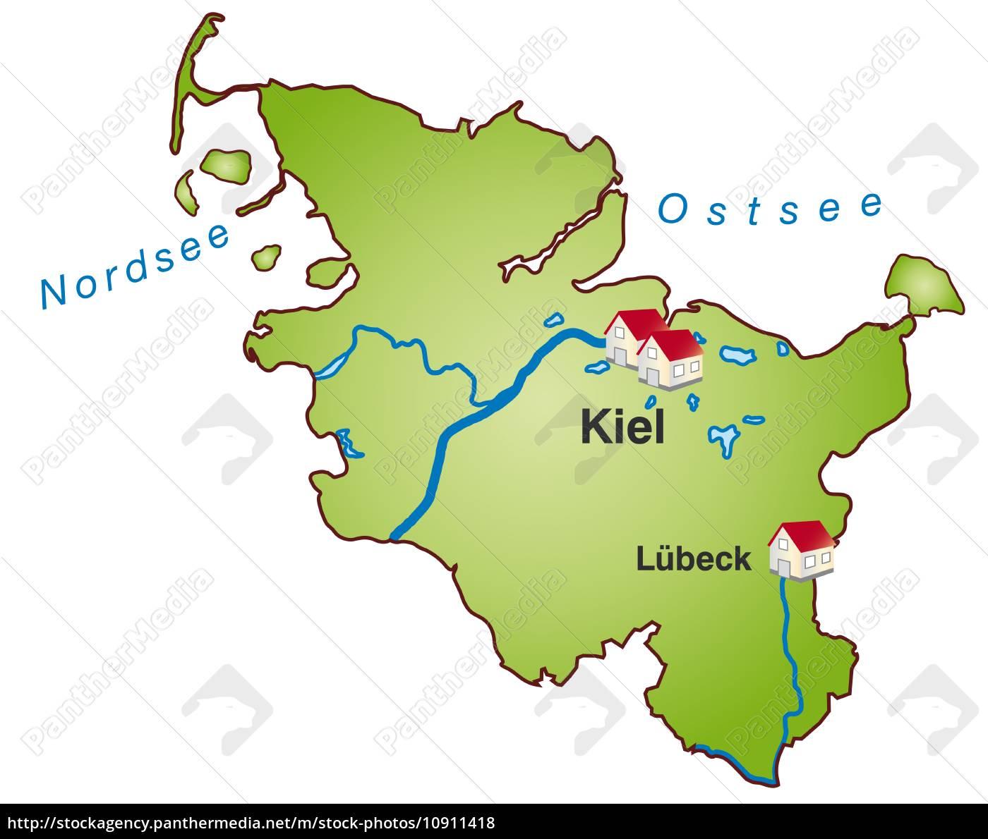 Ostsee Karte Schleswig Holstein.Stock Bild 10911418 Karte Von Schleswig Holstein Als Infografik In Grün