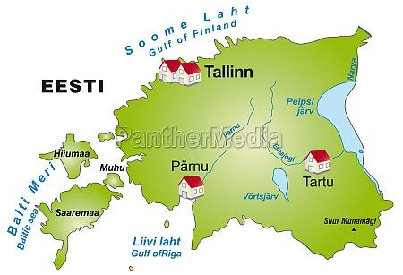 karte von estland als infografik in
