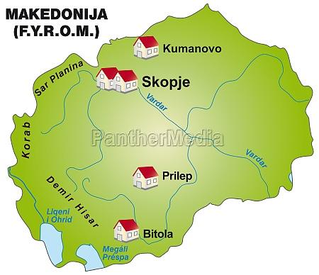 karte von mazedonien als infografik in