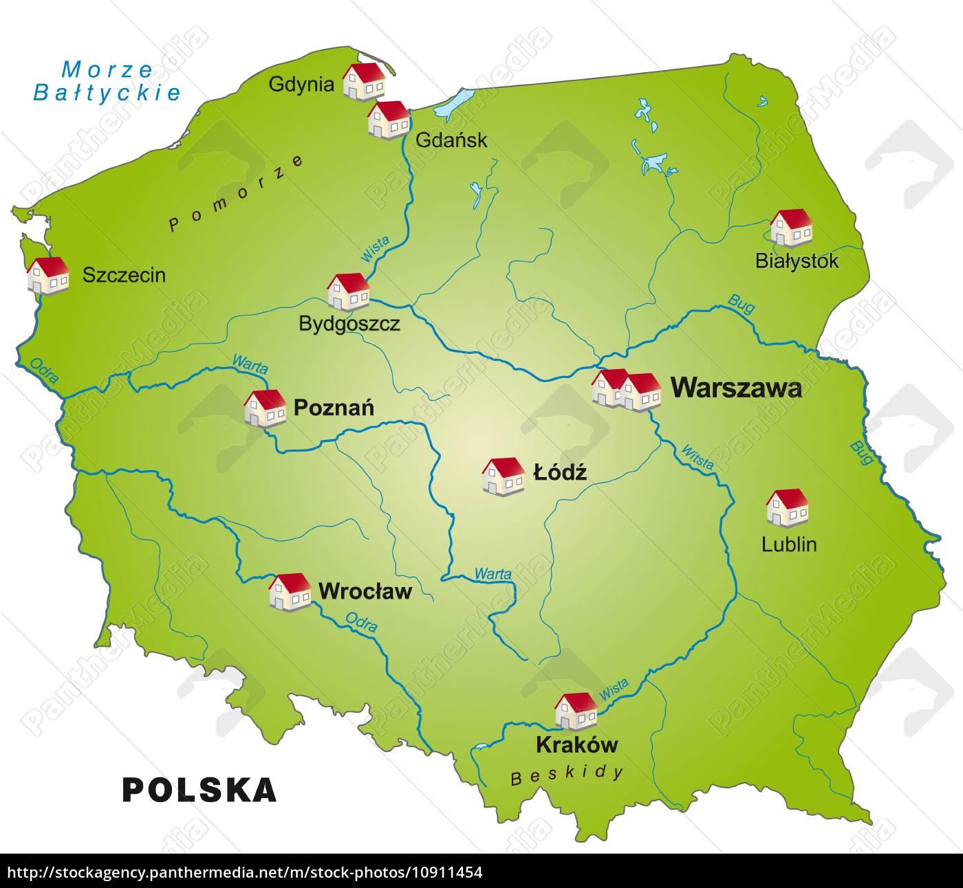 Karte Von Polen Als Infografik In Grun Stock Photo 10911454