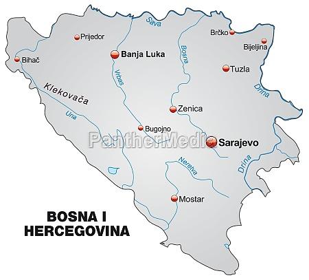 karte von bosnien herzegowina als UEbersichtskarte