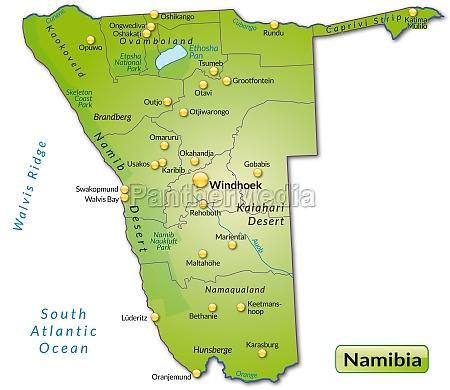 karte von namibia als UEbersichtskarte in