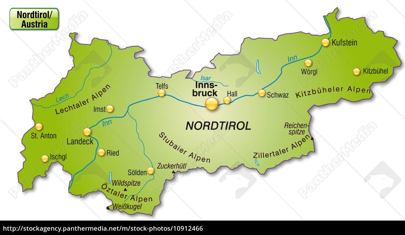Karte Von Tirol Als Ubersichtskarte In Grun Stock Photo