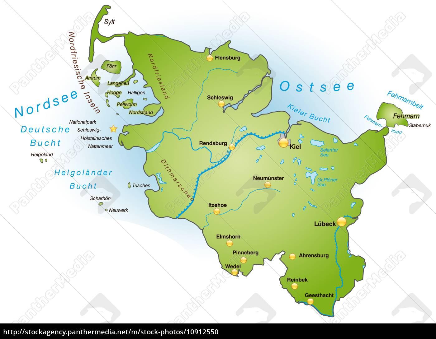 Schleswig Holstein Karte.Stock Bild 10912550 Karte Von Schleswig Holstein Als übersichtskarte In Grün