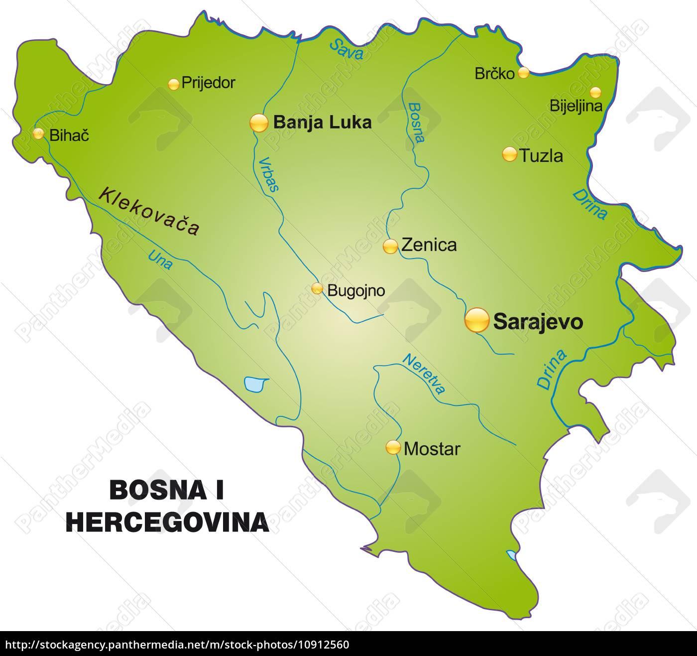 Karte Von Bosnien Herzegowina Als Ubersichtskarte In