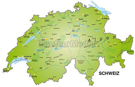 karte von schweiz als UEbersichtskarte in