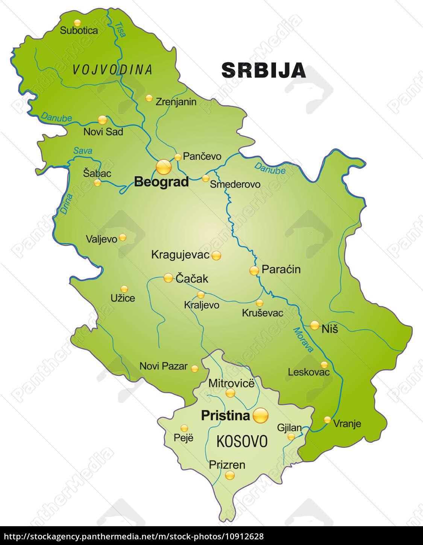 Karte Von Serbien Als Ubersichtskarte In Grun Lizenzfreies Foto