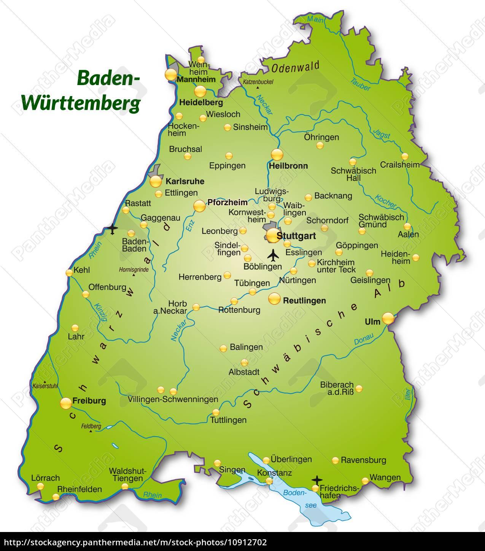 landkarte deutschland baden württemberg Karte von Baden Wuerttemberg als Übersichtskarte in   Stock Photo