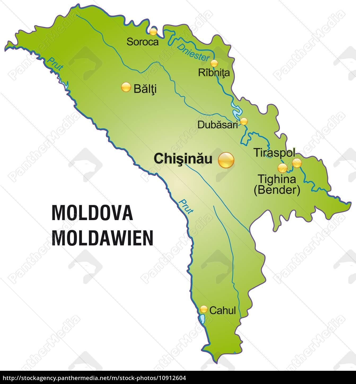 Moldawien Karte.Lizenzfreies Foto 10912604 Karte Von Moldawien Als übersichtskarte In Grün
