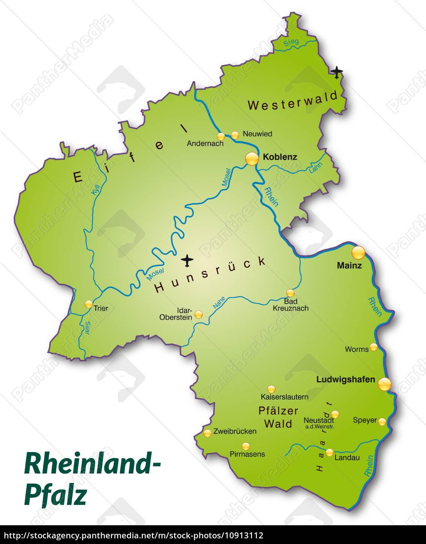 Karte Von Rheinland Pfalz Als Ubersichtskarte In Grun