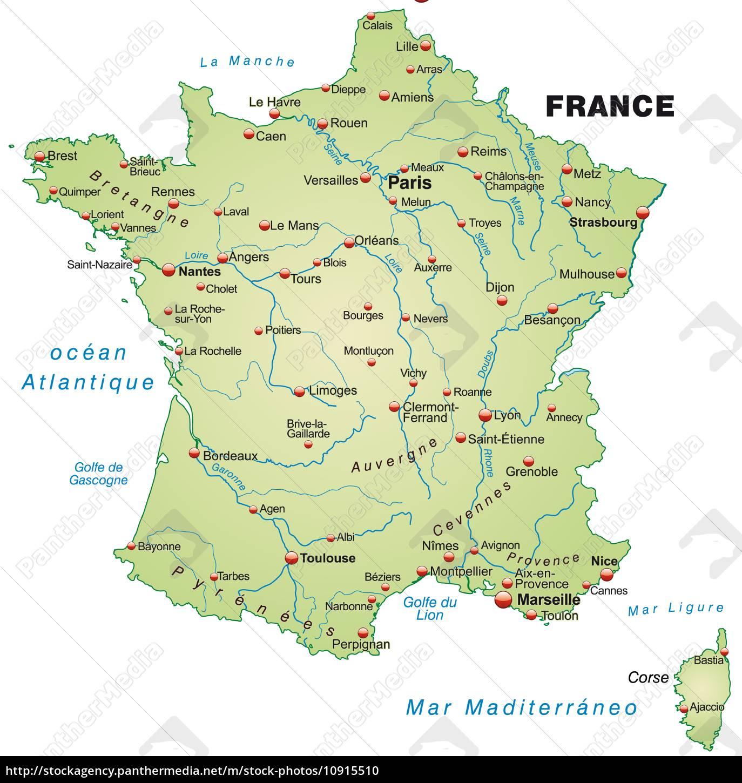 Karte Von Frankreich Als Ubersichtskarte In Stock Photo