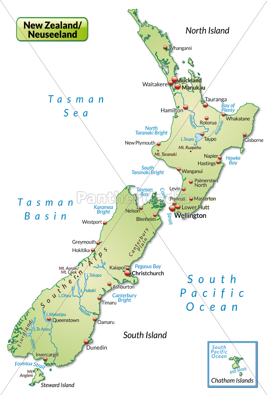 Karte Von Neuseeland Als Ubersichtskarte In Lizenzfreies Foto 10915444 Bildagentur Panthermedia