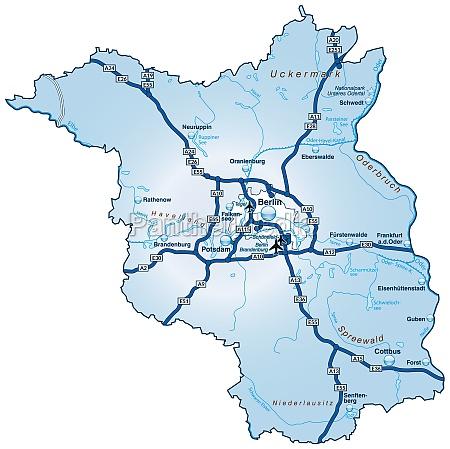 karte von brandenburg mit verkehrsnetz