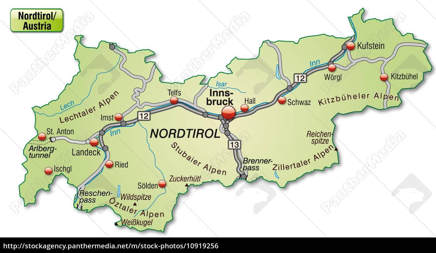 Karte Von Tirol Mit Verkehrsnetz In Pastellgrun Lizenzfreies