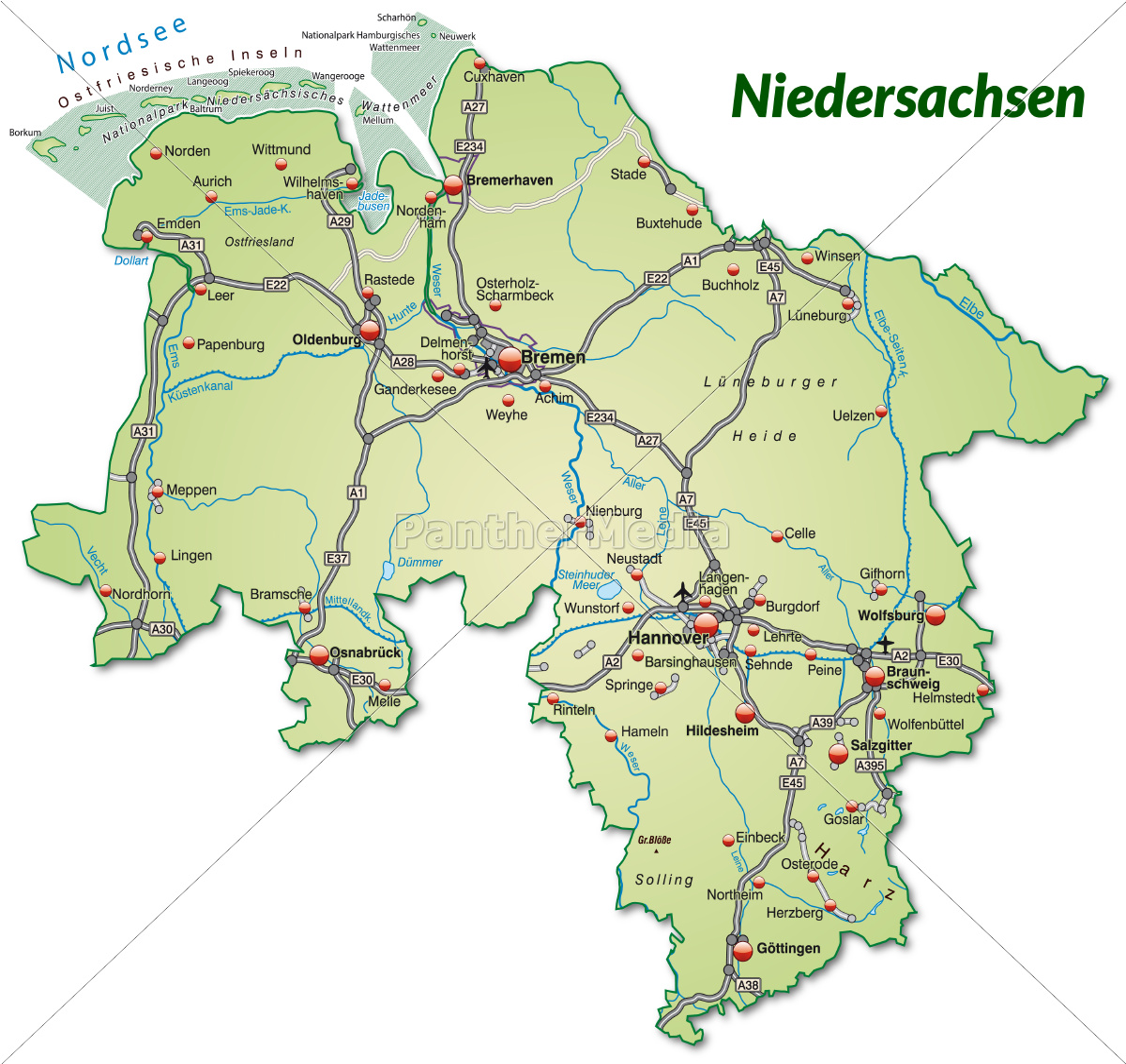 Karte Von Niedersachsen Mit Verkehrsnetz In Lizenzfreies Foto