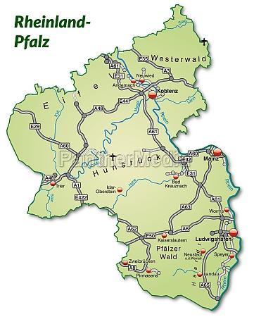 karte von rheinland pfalz mit verkehrsnetz