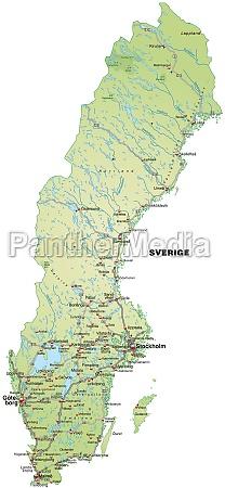 karte von schweden mit verkehrsnetz
