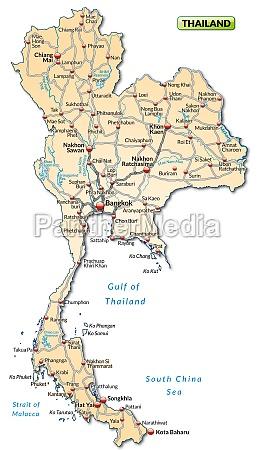 karte von thailand mit verkehrsnetz
