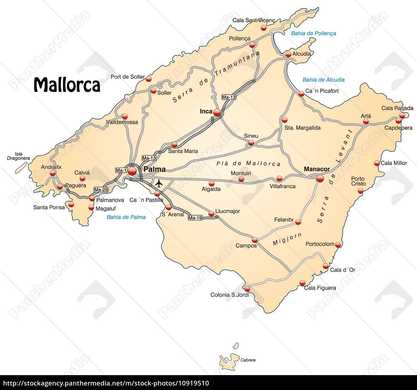 Mallorca Karte Alcudia.Stock Photo 10919510 Karte Von Mallorca Mit Verkehrsnetz In Pastellorange