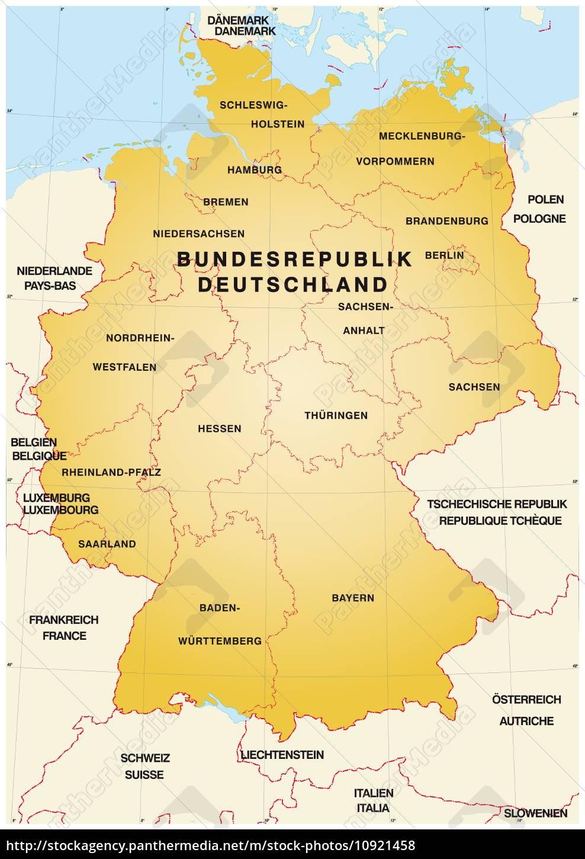 Karte Von Deutschland Mit Grenzen Stockfoto 10921458