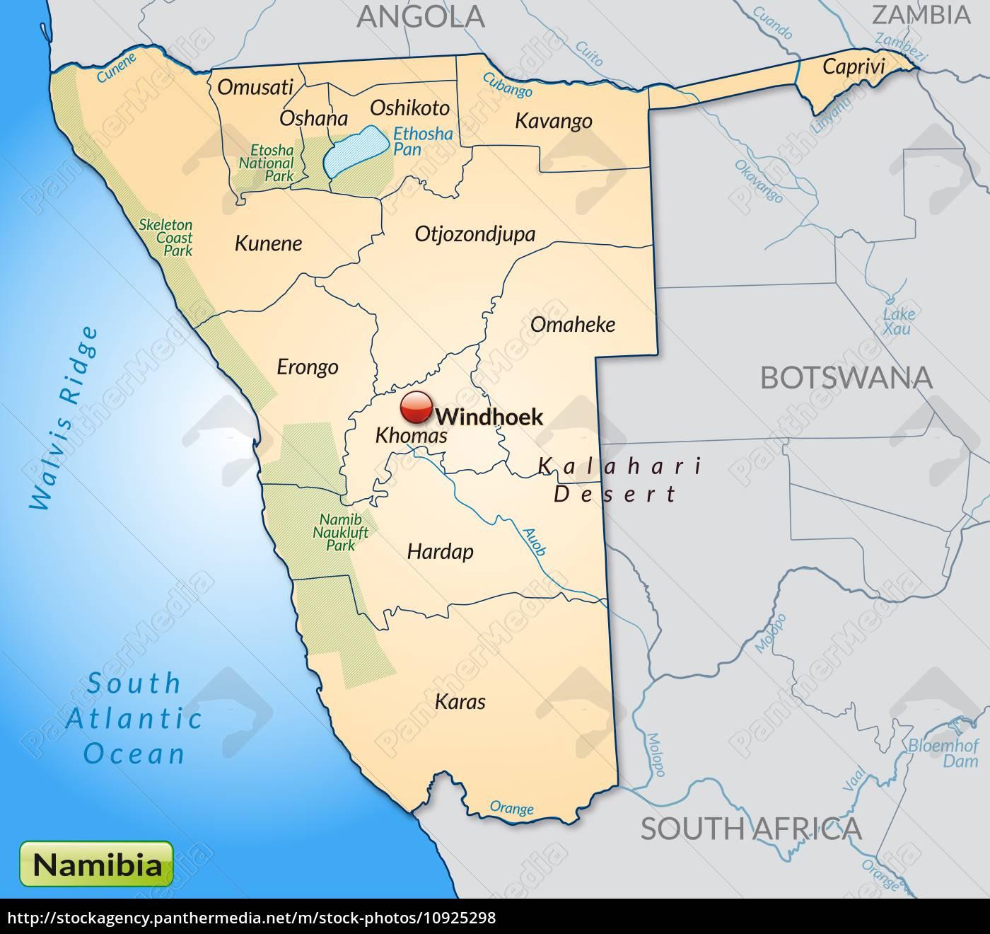 Karte Von Namibia Mit Grenzen In Pastellorange Stockfoto