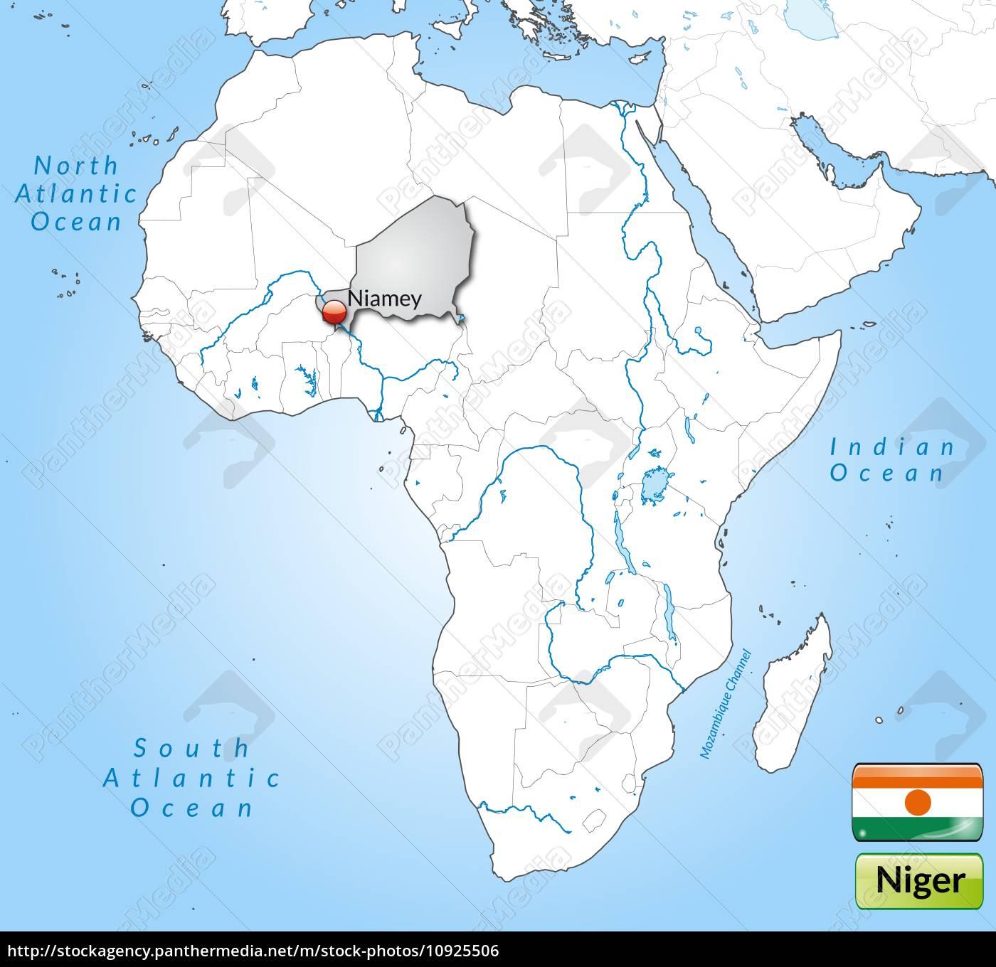 Stock Bild 10925506 - Karte von Niger mit Hauptstädten in Grau