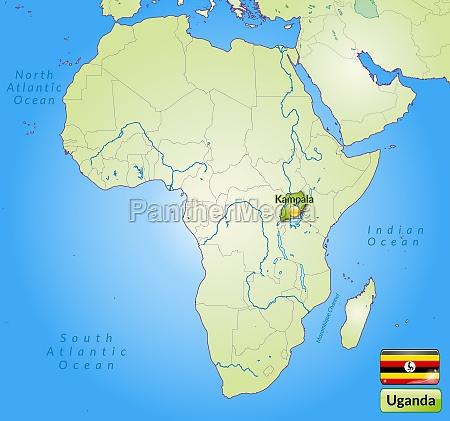karte von uganda mit hauptstaedten in