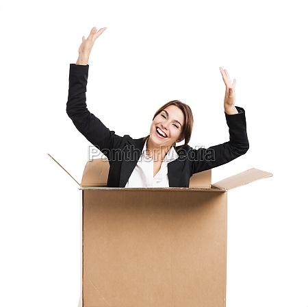 business woman appear inside a big