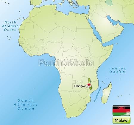karte von malawi mit hauptstaedten in