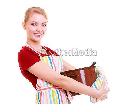 glueckliche hausfrau oder koch in der