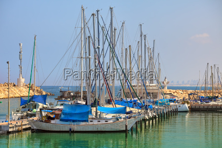marina and yachts on mediterranean sea