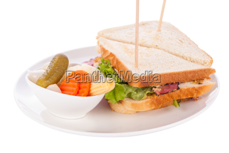 delicious sandwich clubsandwich with bacon ham