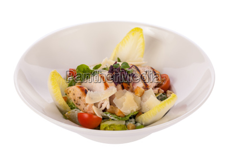 fresh delicious caesarsalat with grilled chicken