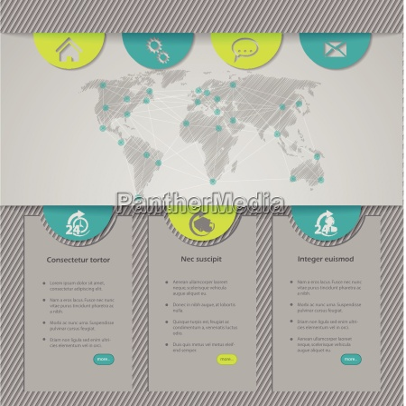 website template design mit weltkarte