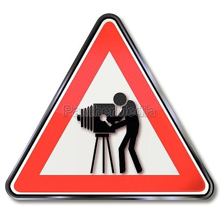 schild alte kamera und filmgeschichte
