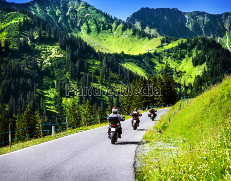 group of travelling bikers