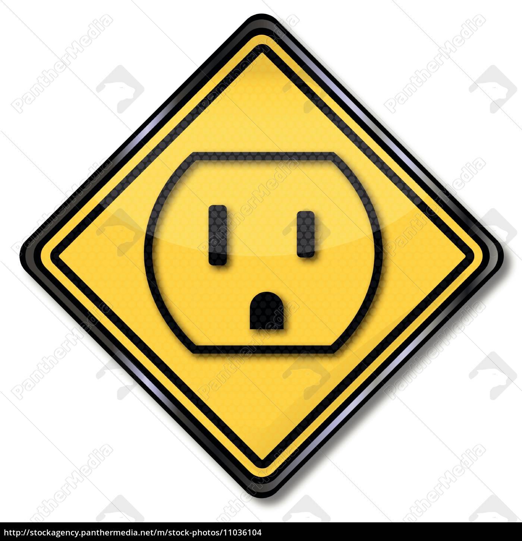 Schild Strom und Steckdose in den USA - Lizenzfreies Foto ...