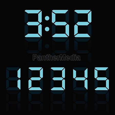 blue clock digits vector illustration