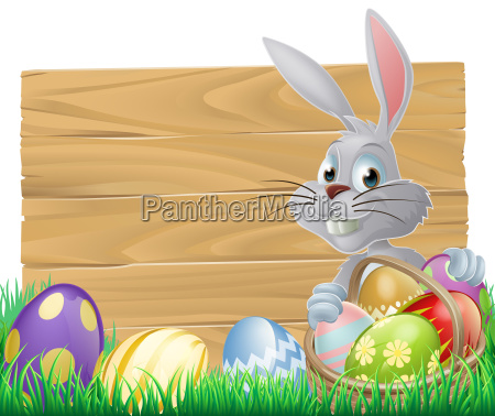 wooden sign easter bunny