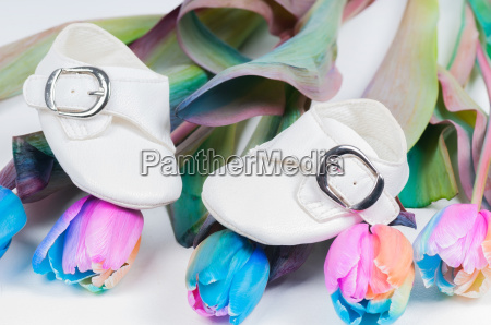 baby shoes and unusual multi colored