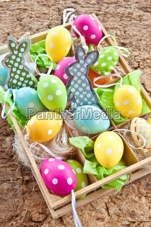 colorful easter eggs with dots