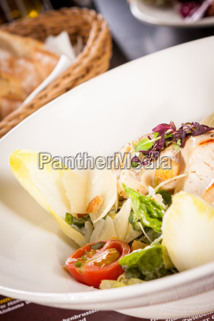 fresh delicious caesar salad with grilled